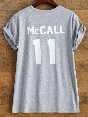 Short Sleeve McCall 11 Boyfriend Tee - Gray L