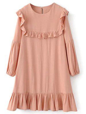 Ruffle Puff Long Sleeve A Line Dress - Pinkbeige S