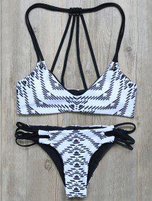 Geometric Print Strappy Back Bikini - White And Black S