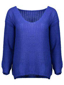 Open Stitch Scoop Neck Sweater - Blue M