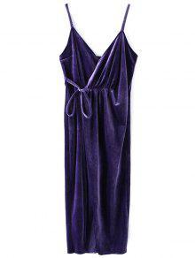 Slip Velvet Wrap Midi Dress - Deep Purple S