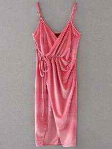 Slip Velvet Wrap Midi Dress - Papaya L
