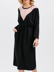 Drawstring Color Block Pockets Dress - Black