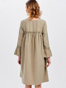9608d4d5846 ... Long Sleeve Trapeze Dress  Long Sleeve Trapeze Dress. affordable Long  Sleeve Trapeze Dress - KHAKI ONE SIZE