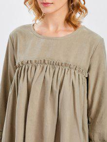 11adfd34ee5 ... Long Sleeve Trapeze Dress. affordable Long Sleeve Trapeze Dress - KHAKI  ONE SIZE