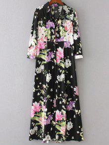 High Waist Floral Print Button Up Dress - Black L