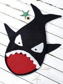 بطانية كرتون على شكل القرش للأطفال - أسود