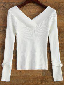 Hombro Desnudo Cuello En V Suéter Costilla - Blanco