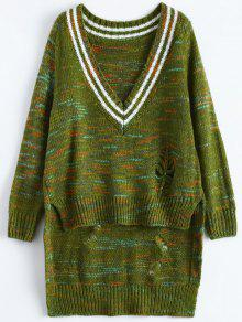 High Low Ripped Heather Sweater - Green