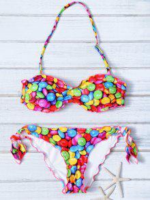 Halter Candy Print Frilled Bikini - M