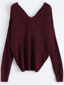V Neck Twisted Back Sweater BURGUNDY: Sweaters ONE SIZE | ZAFUL