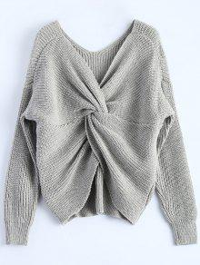 V Cuello Del Suéter Trenzado - Gris