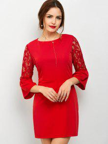 Lace Panel Flare Sleeve Party Wear Dress For Women - Red M