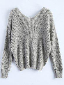 746b9c57f8 48% OFF  2019 V Neck Twisted Back Sweater In GRAY ONE SIZE
