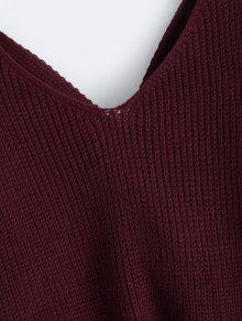 68a7373dc7 48% OFF  2019 V Neck Twisted Back Sweater In BURGUNDY ONE SIZE
