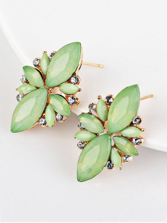 Orecchini A Colore Di Caramella Abbelliti Con Gemma Artificiale - verde
