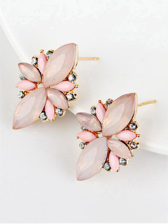 unique Artificial Gems Embellished Candy Color Earrings - PINK