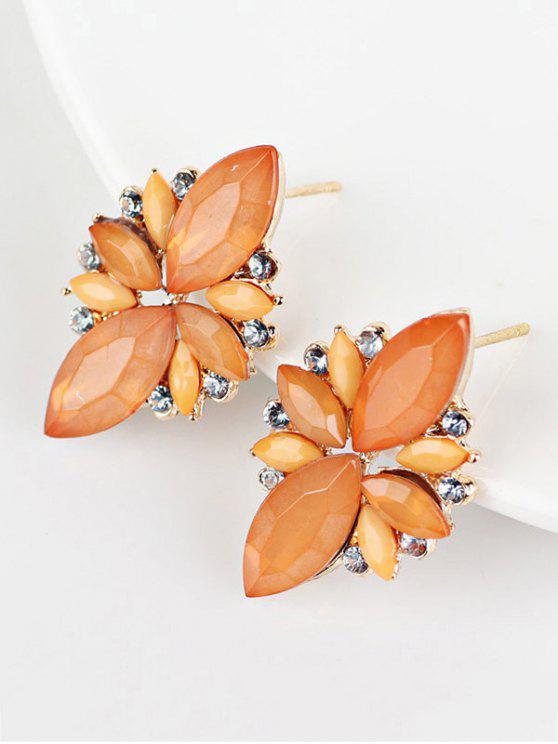 Boucles D'oreilles à Couleur de Bonbon avec Pierre Artificielle Décorative - Orange