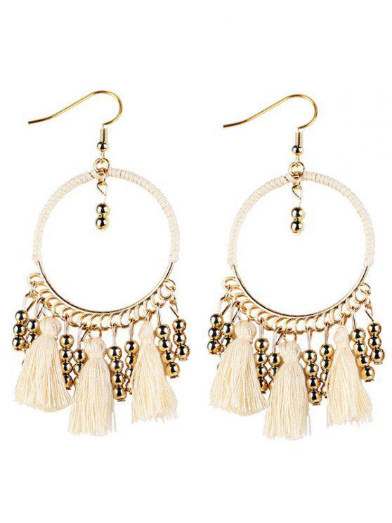 best Geometrical Bohemian Tassel Circle Drop Earrings - WHITE