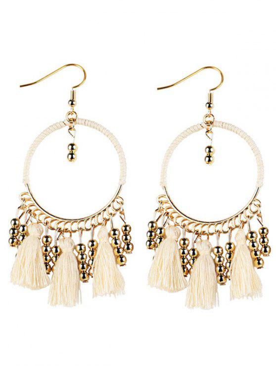 Geometrical Bohemian Tassel Circle Drop Earrings - White