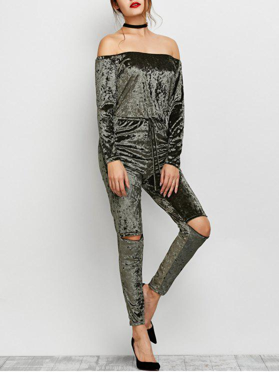 unique Ripped Off Shoulder Velvet Jumpsuit - ARMY GREEN XL