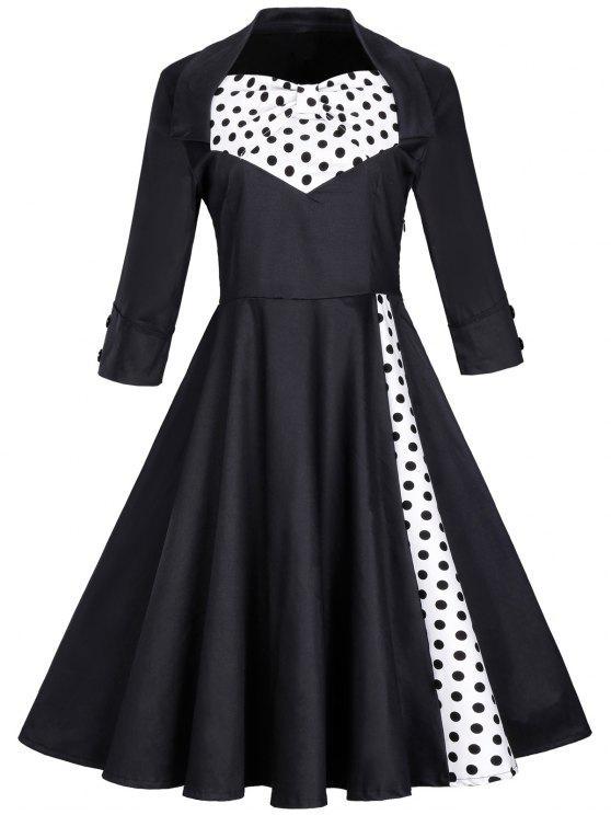خمر البولكا دوت بونوت سوينغ صالح ومضيئة اللباس - أسود 3XL