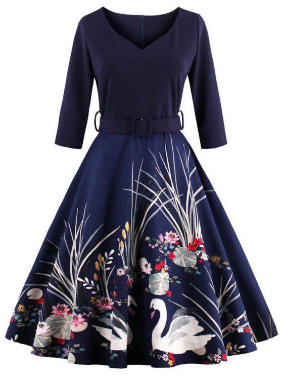 Robe vintage taille haute imprimée avec ceinture - Bleu Violet 4XL