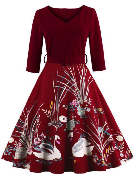 فستان كلاسيكي عالية الخصر طباعة - عنابي اللون M