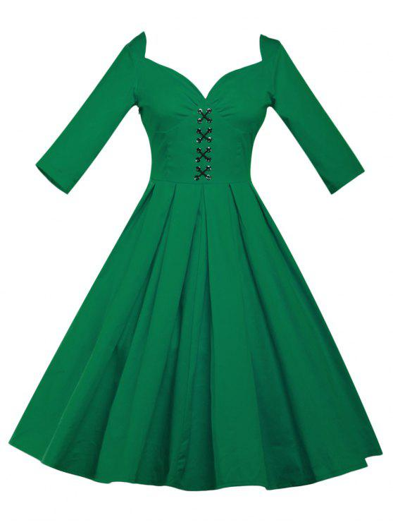 2888837329bd3 27% OFF] 2019 Lace Up Bowknot Vintage Swing Dress In GREEN | ZAFUL