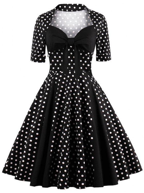 فستان البولكا نقطة كلاسيكي - أسود XL