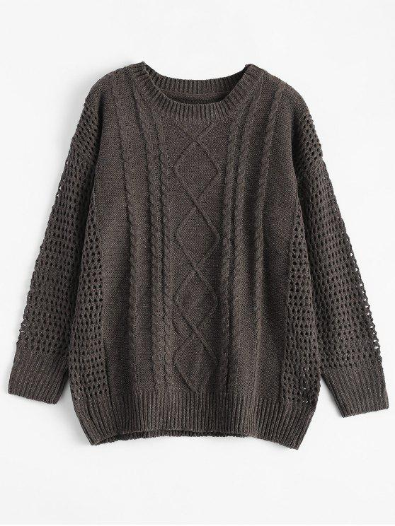 chic Relaxed Open Cable Knit Sweater - TAUPE ONE SIZE