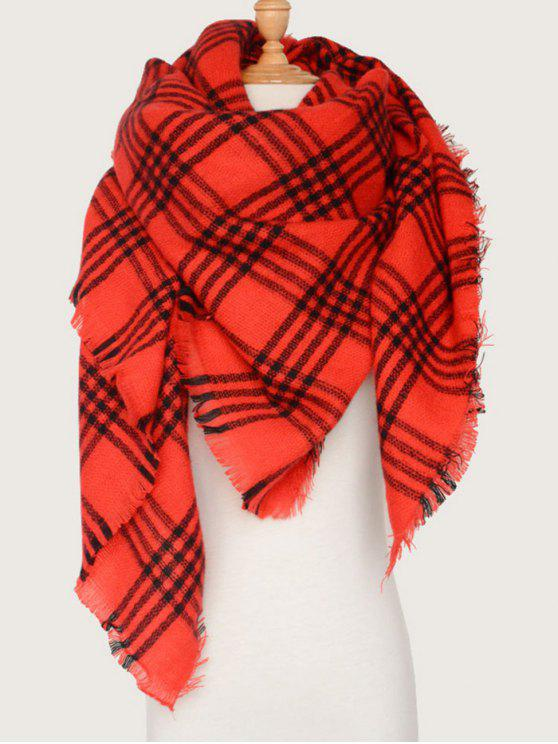 new Plaid Pattern Blanket Scarf - RED