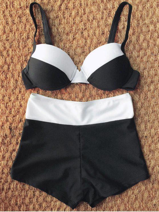 Dos tonos de talle alto Bikini Set - Blanco y Negro S