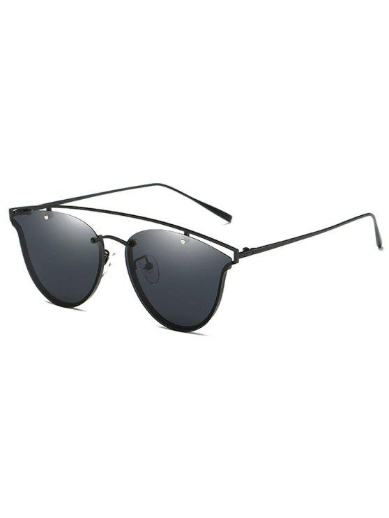 trendy Crossbar Metal Butterfly Sunglasses - BLACK