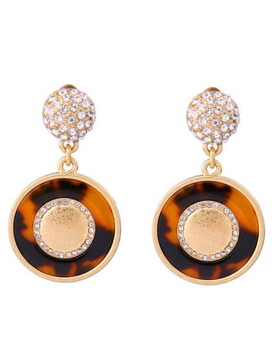 Rhinestone Circle Leopard Print Earrings