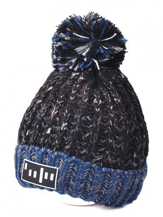 hot Color Block Cable Knit Pom Hat with Labelling - BLACK