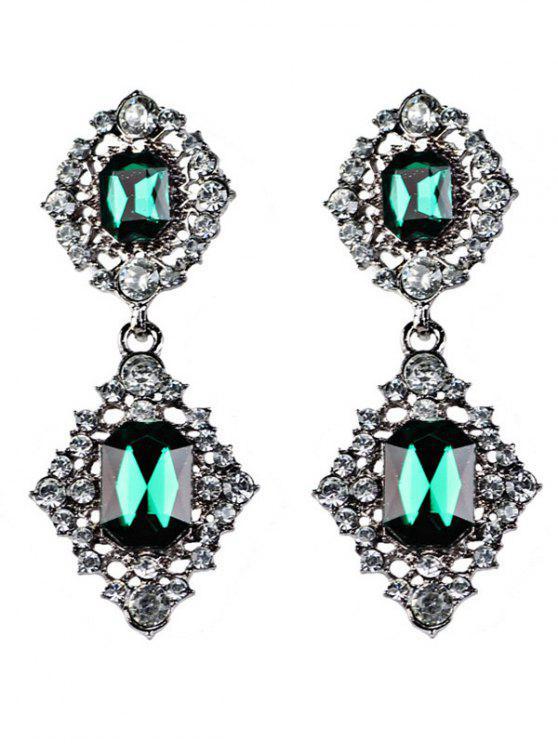 fashion Artificial Gems Embellished Drop Earrings - BLACKISH GREEN
