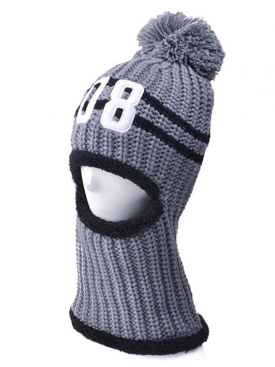 sale 08 Embroidery Thicken Warm Neck Knitted Pom Hat - GRAY
