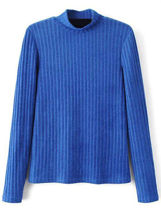 shop Ribbed High Neck Knitwear - BLUE L