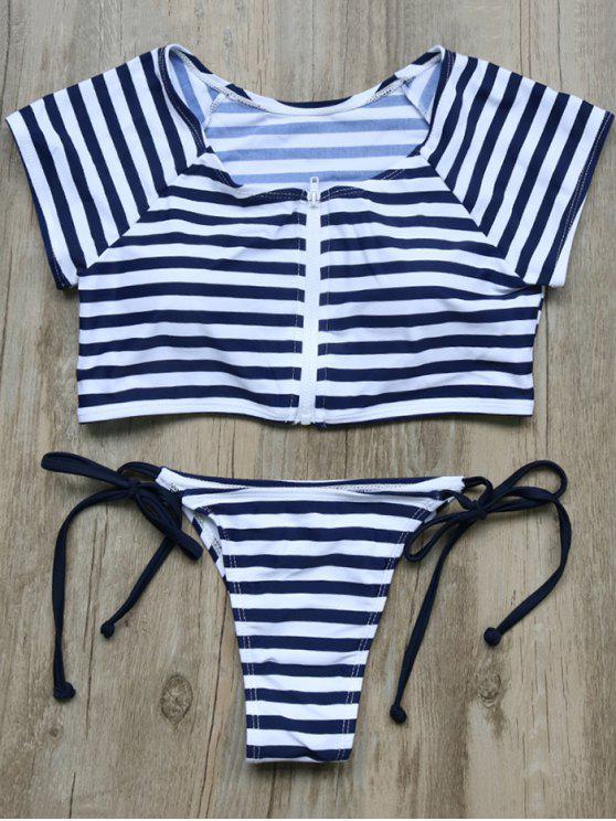 lady Full Zip Cropped Striped Tankini Set - DEEP BLUE L