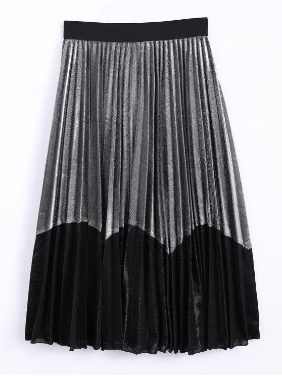 Del bloque del color del terciopelo falda plisada - Plateado+Negro Única Talla