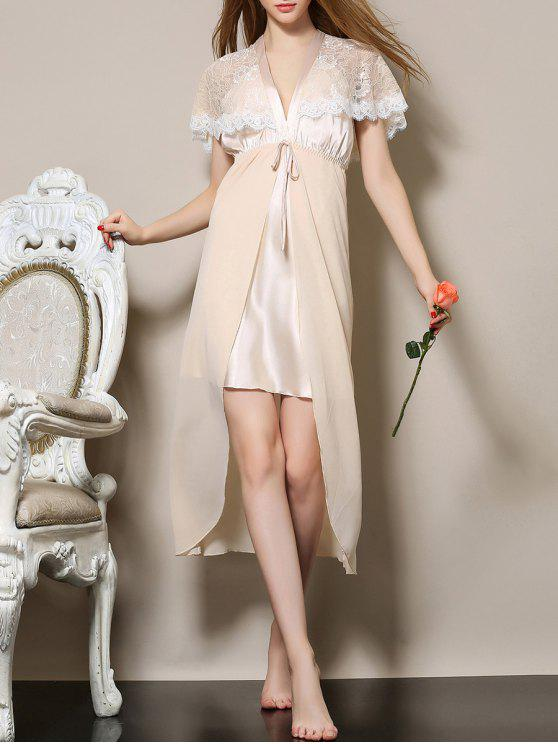 hot Plunging Neck Satin and Lace Babydoll - APRICOT M