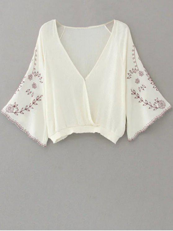 6dcf0cc4 30% OFF] 2019 Linen Embroidered Surplice Blouse In WHITE | ZAFUL
