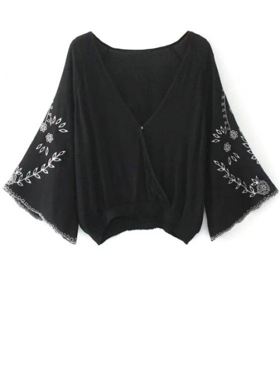 bf8a4019 33% OFF] 2019 Linen Embroidered Surplice Blouse In BLACK | ZAFUL