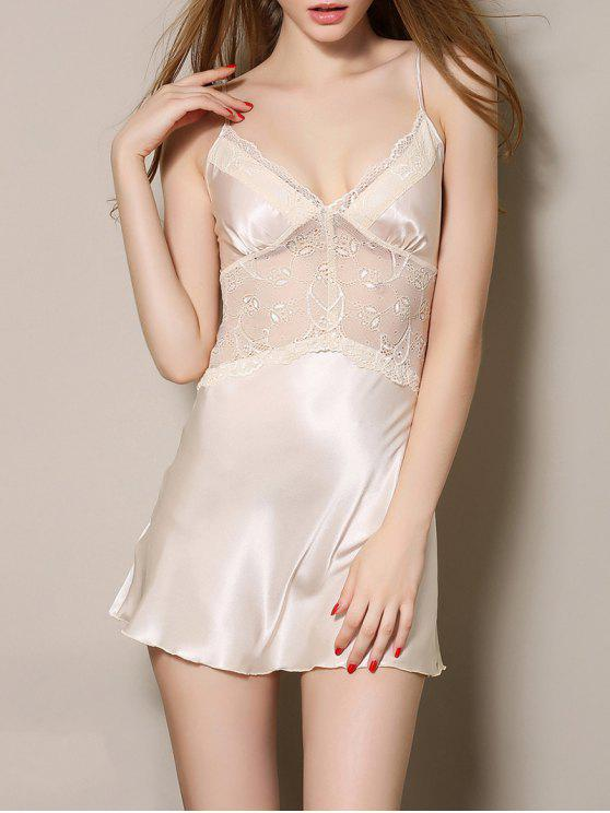 shop Cut Out Satin and Lace Cami Babydoll - APRICOT M