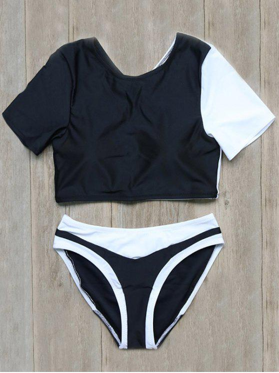 sale Color Block Short Sleeve Top and Briefs - BLACK M