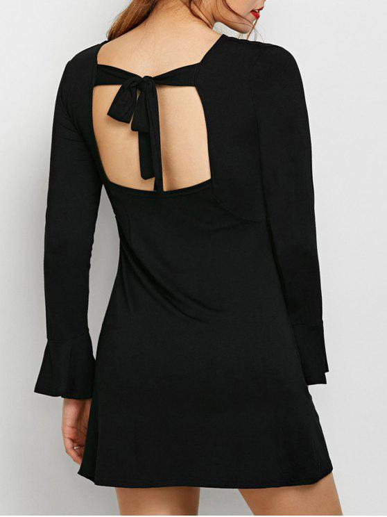 affordable Flare Sleeve Cut Out Dress - BLACK S