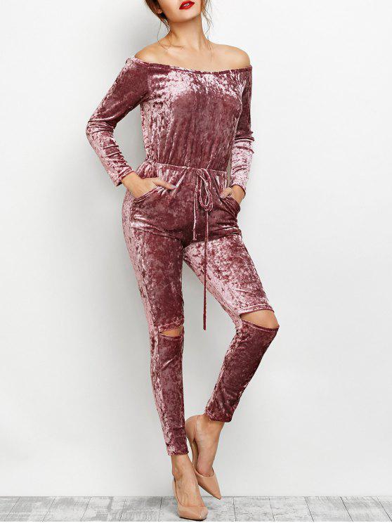latest Ripped Off Shoulder Velvet Jumpsuit - BEGONIA S