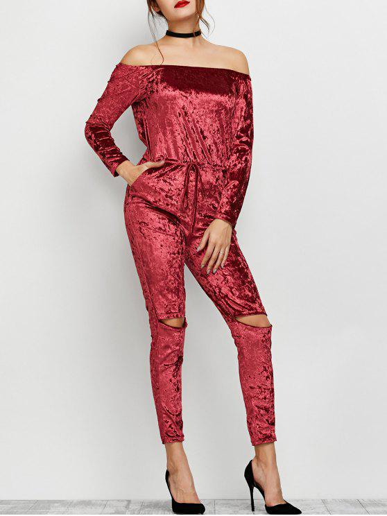 trendy Ripped Off Shoulder Velvet Jumpsuit - WINE RED XL