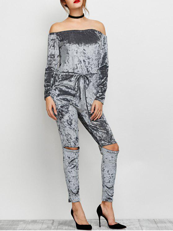 ladies Ripped Off Shoulder Velvet Jumpsuit - GRAY S